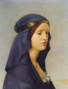 Queen Elgiva by Joanna Boyce, pre-Raphaelite artist. 1855.