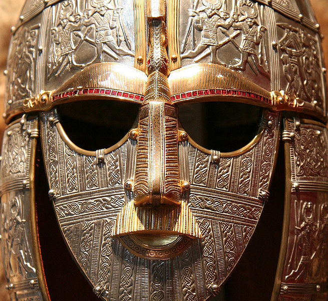 Helmet, 7th c. Sutton Hoo. Note the dragons at the brows.