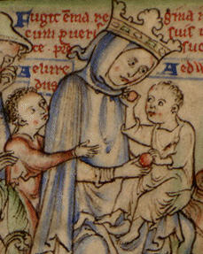 Emma with her sons Edward & Alfred from The Life of Edward the Confessor, 12th c.