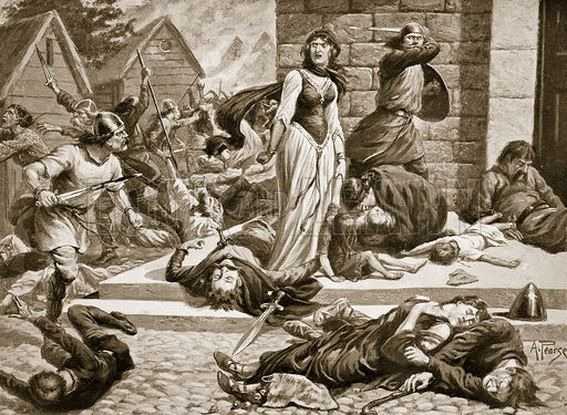 "The Massacre of St. Brice's Day from Hutchinson's ""Story of the British Nation"". 1920."