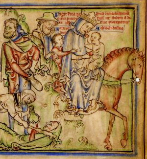 Emma in a 12th c ms. Note the turmoil going on behind her.