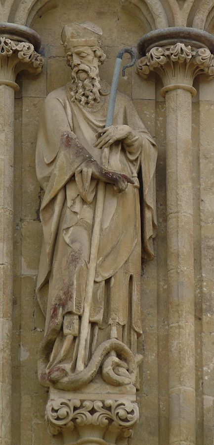 St. Patrick, Salisbury Cathedral. Note the snake. Credit: Wikimedia Commons