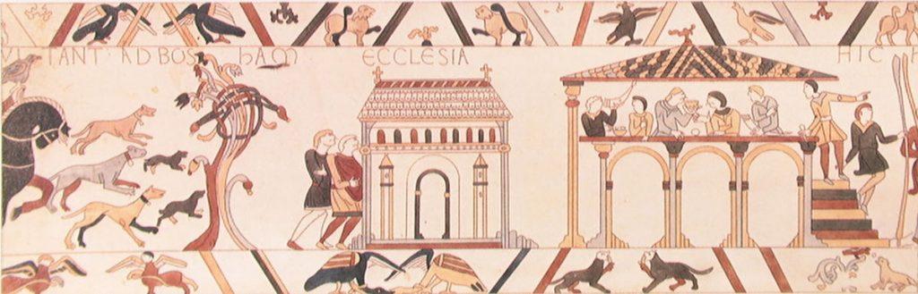 Bosham Church & Manor. Bayeux Tapestry. WikimediaCommons